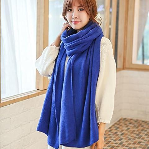 midtawer la versión coreana de la bufanda invierno mujeres grueso largo estudiantes parejas cálido jersey de punto de color sólido un Cardigans marea, Blue