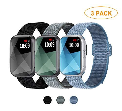 Naomo Kompatibel mit Watch Armband 42mm/44mm, Nylon Ersatz Uhrenarmband Ersatz für Series 4, Series 3, Series 2, Series 1 (42mm/44mm, 3 Pack C Schwarz+Sturmgrau+Cape Cod Blau) Nylon-armband