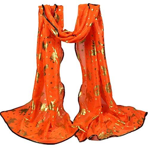 Damen Schals Halloween Kürbis Print Lange weiche Wrap Schal (L, (Halloween Schal)