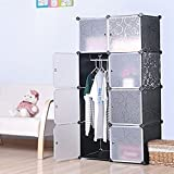 #7: GoldenCart Multi-use DIY Foldable Wardrobe, Book shelf, Toys Storage - Black Colour with White Designer Doors