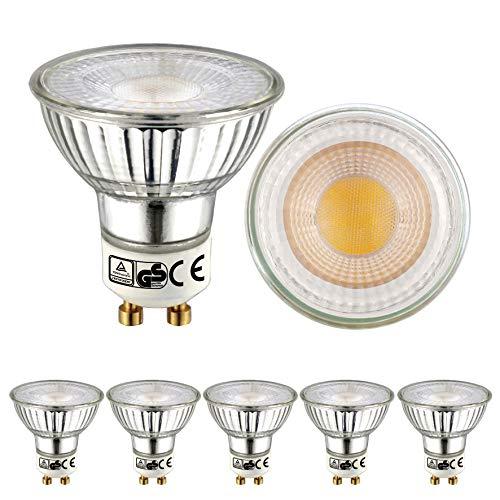 EACLL Bombillas LED GU10 2700K Blanco Cálido 5W 450 Lúmenes Equivalente 50W Halógena. 36 ° Luz Blanca Cálida Spotlight LED, 5 Pack