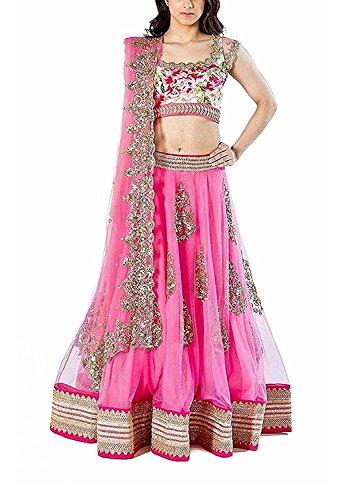 RR Fab Rose Pink Soft Net Semi-stitched Gown Lehenga Choli Women & Girl