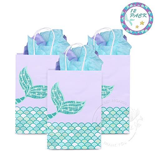 Youth Union Geschenktüten Partytüten Geschenkbeutel Kraftpapiertüten Meerjungfrau Muster mit Henkel für Kindergeburtstag Hochzeit Party Feier ca. 20 x 11 x 8 cm ( 12 Stück ) (Grün Set)