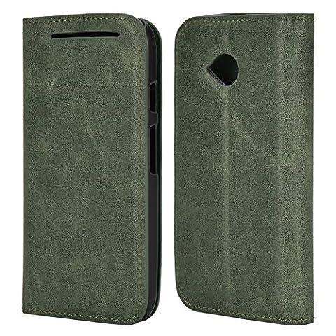 Mulbess Ledertasche im Ständer Book Case für Motorola Moto E 2. Generation Tasche Hülle Leder