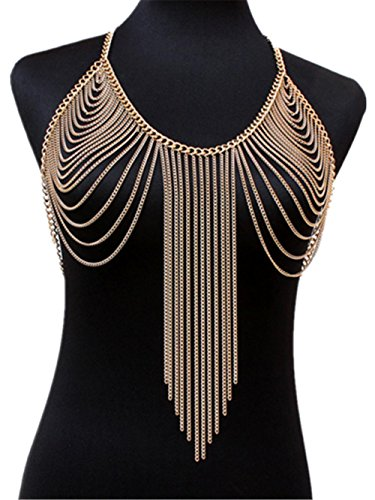 HYHAN Anello Donna esagerata semplice di modo di lusso del diamante selvaggio catena personalità Body Beach Bikini a sospensione , gold