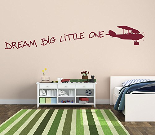 Dream Big Little One con Vintage avión moda Premium vinilo pared arte adhesivo color mate rojo vino habitación infantil decoración del hogar