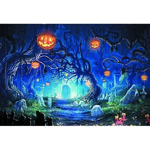 Foxnovo 2.5M x 2.5M fotografia palcoscenico sfondo di Halloween per bambini Rotoli Studio per la (Increspato Tela)