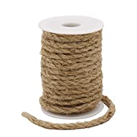 Tenn Well 6mm Jute Rope, 33 Feet Thick and Strong Natural Jute Twine for Gardening Bundling Camping Decorating (Brown)