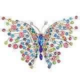 Flyonce Österreichischer Kristall Jugendstil Schwalbenschwanz Schmetterling Insekt Tier Brosche Multicolor Silber-Ton