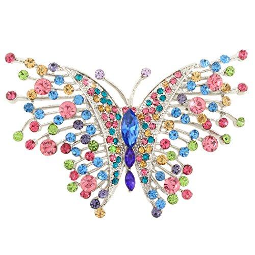 EVER FAITH Österreichischer Kristall Jugendstil Schwalbenschwanz Schmetterling Insekt Tier Brosche Multicolor Silber-Ton