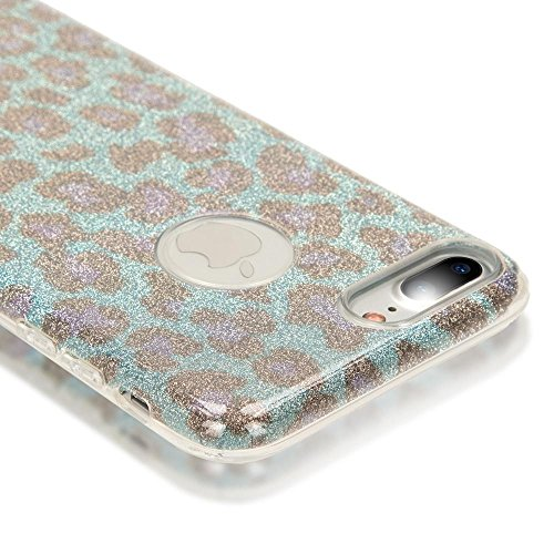 iPhone 8 Plus / 7 Plus Hülle Handyhülle von NICA, Glitzer Leopard Slim Silikon-Case Back-Cover Schutz, Glitter Leo Sparkle Handy-Tasche, Dünnes Bling Strass Etui für Apple iPhone 7+ / 8+ - Pink Lila Türkis Blau