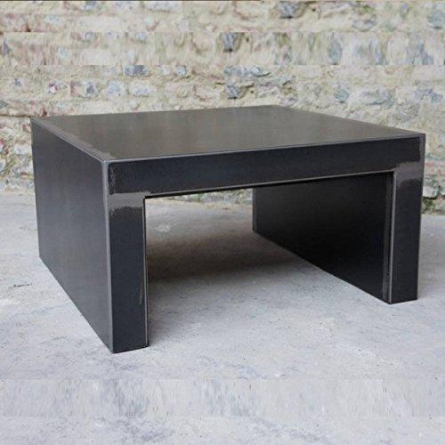 Artisan - table industrielle métal brut design - dimensions:80cm l x80 cm L = - hauteur:h : 50 cm