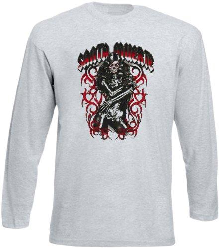 Langarm T-Shirt Santa muerta girl Grau