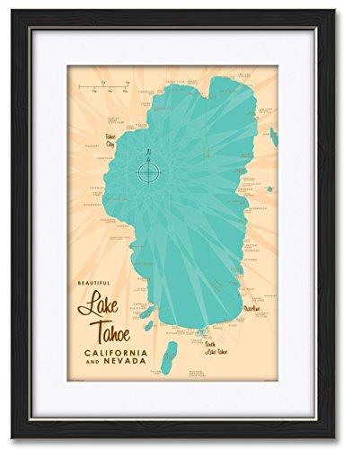 Northwest Art Mall Lake Tahoe ca Nevada Karte Professionell Gerahmter & Passepartout Extragroßen Giclée-Kunstdruck von lakebound 12