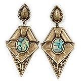 Große Vintage Stil Diamant Form Ohrringe in Tropfenform Brennen Gold Metall–9,5cm Länge