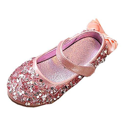 Scothen Prinzessin Schuhe Absatz Mädchen Kostüm Ballerina Schuhe-Schleife Pailletten Karneval Festlich für Kinder Ballerina schuhe festliche Mädchenschuhe Taufschuhe Kommunion Hochzeit (Für Kostüme Fett Tanz)