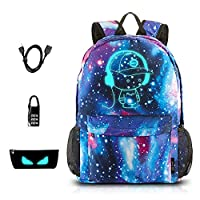 School Bags, ICETEK Anime Luminous Backpack Canvas Shoulder Daypack Boy Rucksack with USB Cable and Lock and Pencil Bag for Teens Girls Boys