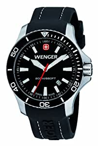 Wenger Seaforce Men's Quartz Watch with Black Dial Analogue Display and Black Silicone Strap 010641103