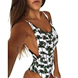 Styledress Bademode Damen Sexy Ananas-Print Bikini Set Frauen Einteiliges Push-Up Gepolsterter BH Badeanzug Badeanzüge Badebekleidung Beachwear Top Tankini Set (Weiß, L)