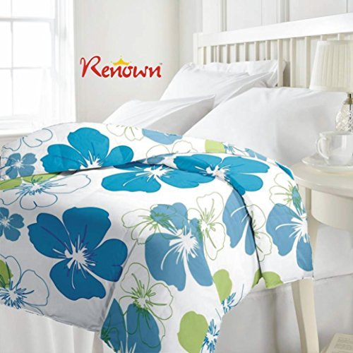 Renown Beautiful Blue Flower Print Reversible Single Bed Quilt / AC Blanket...