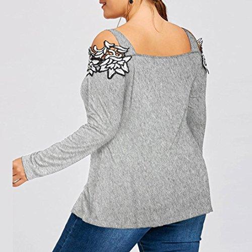 Sexyville Femmes Pullover Blouse Plus Size Cold Épaule Brodé à Manches Longues T-Shirt Femme Chic Mode Manteau Femme Grande Taille Vetement Gris