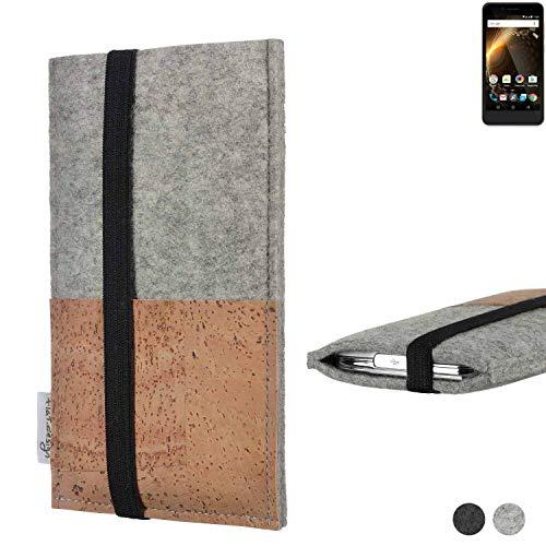 flat.design Handy Hülle Sintra für Allview P6 Energy Mini Handytasche Filz Tasche Schutz Kartenfach Case Kork