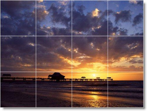 SUNSET IMAGEN BALDOSA CERAMICA MURAL S024  18X 24CM CON (12) 6X 6AZULEJOS DE CERAMICA