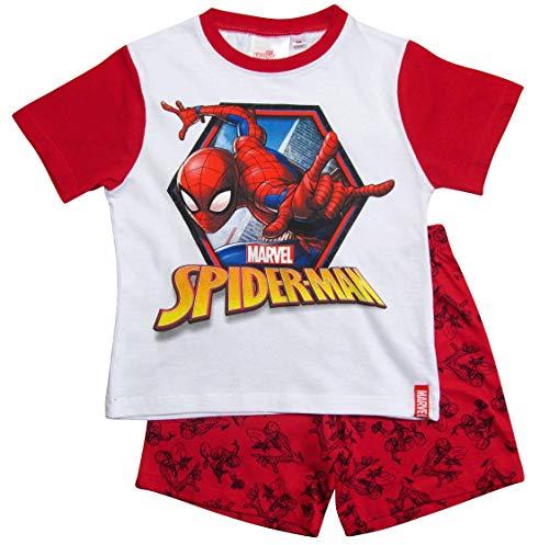 Spiderman Schlafanzug Ökotex Standard 100 Kurz Jungen (Weiß-Rot, 104)