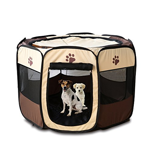 Portable Folding Fabric Pet Play Pen Puppy Dog Cat Rabbit Guinea Pig Playpen Run Playpen Crate Cage Kennel Play Ten(M, Coffee)