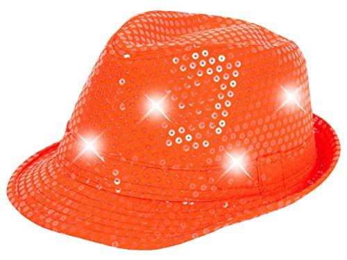 Cappello fedora borsalino di molti colori diversi con luci LED e paillette clubstyle discoteca popstar jazz blues lifestyle accessorio molto moderno hip hop spiaggia tempo libero, LED Trilby TH-40-54:TH-52 arancione fluo