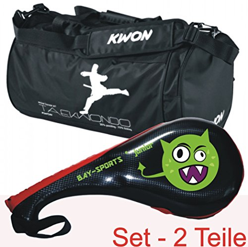 Bay Leder Tasche (BAY® SET Angebot 2 Teile : ALIEN Doppelmitt und Sporttasche TAEKWONDO KWON small für Kinder - Geschenk Geschenkidee)