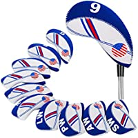 Beehive Filter White & Blue 10x Golf Club Head Covers Wedge Iron Protective Headcover US Flag Design Neoprene For Titleist Callaway Ping Taylormade Cobra Etc.