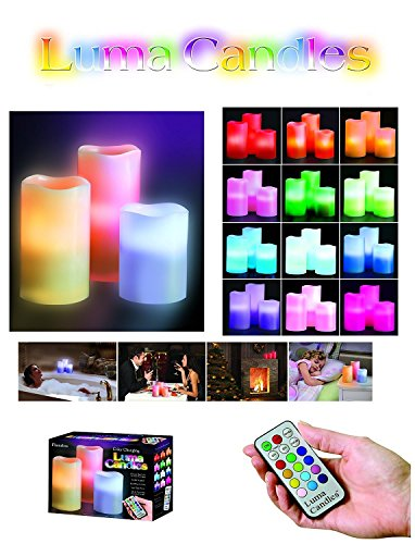 New Luma Candles Real Paraffin Wax Flameless Candles 3 LED Candles Plus Remote Glow Candles Moon Candles