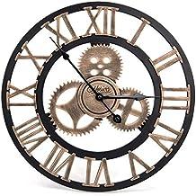 Orologio da Parete in Legno 3D Vintage Europeo con Ingranaggi Numero Romani Industriale Decorativi Design Gigante Wall Clock