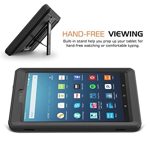 MoKo Housse Amazon Fire HD 8 (6ème génération - modèle 2016) - Etui Housse Robuste de Tout Protection et Résistant à l'eau / Saleté / antichoc, et Protection d'écran intégré, Bleu & Gris Foncé Noir