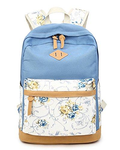DNFC Schulrucksack Canvas Rucksack Mädchen Teenager Schulranzen Blumen Freizeitrucksack Mode Kinderrucksack Fashion Damen Daypack Backpack Schultaschen (Hellblau) -
