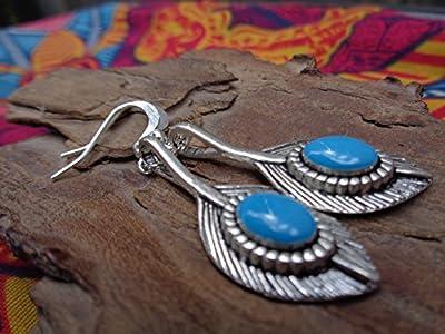 ? émail ETHNO BOHO PLUME BOUCLES D'OREILLES ? délicat, boucles d'oreilles légères boho bijoux bleu clair