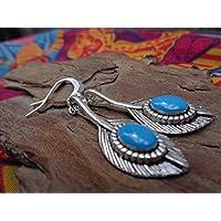 ★ ENAMEL ETHNO BOHO PIUMA ORECCHINI ★ delicati, orecchini leggeri gioielli boho azzurro