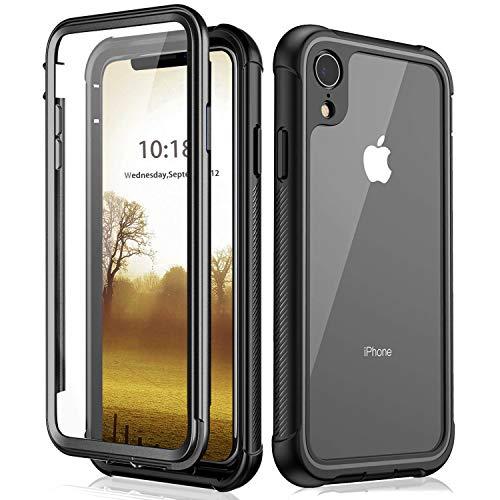BESINPO iPhone XR Hülle, Transparent 360 Grad Schutz Stoßfest Case Robust Handyhülle Outdoor Schutzhülle PC Bumper Dünn Cover für Apple iPhone XR 6.1 2018 (Schwarz) - Rückseite 5 Gehäuse Iphone