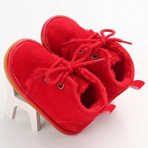 OverDose Baby-Kleinkind -Säuglings Schnee Stiefel Schuhe Gummisohle Prewalker Krippe Schuhe 0-6 Monate 6-12 Monate 12-18 Monate Rot
