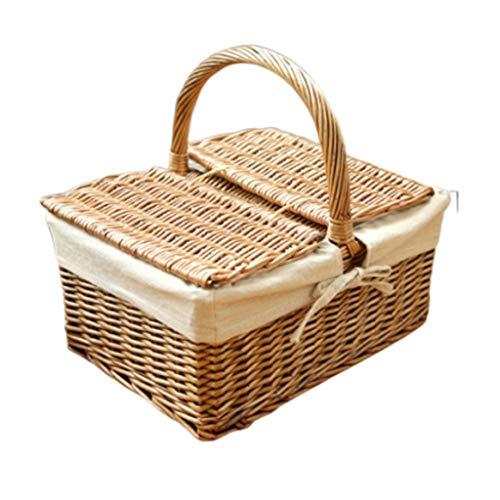 Vier Wicker Picknick-Box mit Deckel Picknickkorb tragbare Outdoor-Isolierung Camping Food Storage Basket Rattan Picknickkorb ()