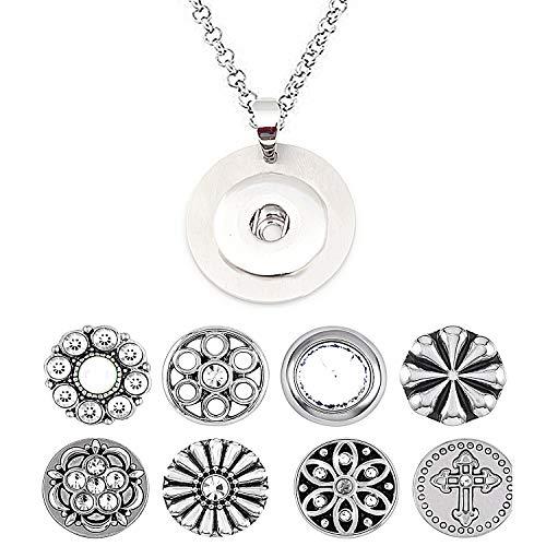 AKKi jewelry Petite 12mm Click Button Set Angebot mit 8 gemischte Druckknöpfe und 1 Accessoires Armband kompatibel mit Chunks Amsterdam Silber Damen Kette zirkonia Schmuck Set Kette 2