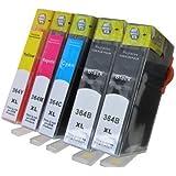 5 Cartuchos de Tinta compatibles con HP 364XL 2 x Negro 1 x Cian 1 x Rojo 1 x Amarillo (viene con Chip)