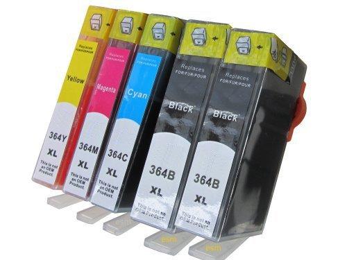 Preisvergleich Produktbild ESMOnline kompatible Tintenpatronen als Ersatz für HP 364XL mit Chip (5 Stück 2 x schwarz 1 x blau 1 x rot 1 x gelb)