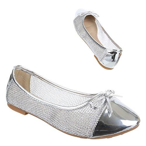 Ital-Design Damen Schuhe, A-117, Ballerinas Perforierte Pumps Silber