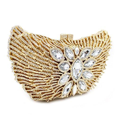 Frauen Hochwertiger Diamant-Abendtasche Clutch Hochzeit Handtasche Gold