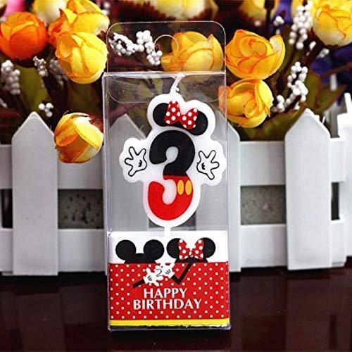 MOMO Vela de cumpleaños Vela de Mickey Minnie Mouse 0-9 Números de Pastel de Aniversario Vela de Edad Suministros de Fiesta Decoración, Minnie 3