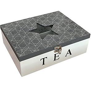 Karla–Motif Géométrique Boîte à thé en bois avec 6compartiments étoile Plateau en verre (Gris)