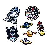Bella 7pcs Patches Aufnäher Aufkleber Aufbügler Applikation Astronaut Rakete NASA UFO Space Explorer Planet Stickerei Iron On Sew On Patch Stickers