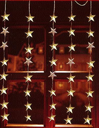 fenster beleuchtung LED Lichtervorhang 40er Sterne warmweiß 1x1,2m innen / außen 06044